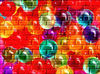 painted bright balloon bricks: painted balloon decorated brick wall background