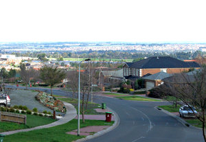 hazy Autumns day: panoramic hazy day views of suburbs and outer suburbs - suburban homes