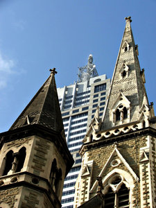 pointing to the skies: historic church and other city architecture