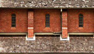 wood, walls & windows: walls, windows and wooden tiles of old rural church
