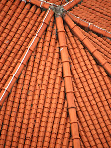 orange Chinese roof: orange curved Chinese tiled roof