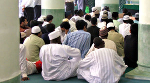 at the mosque: mixed muslim congregation at mosque