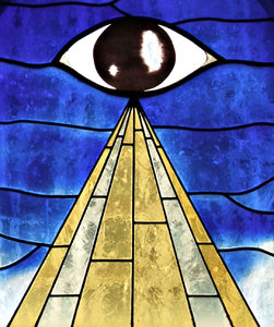 eye see: stained glass window elements with the 'all-seeing' eye