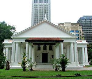 city church entrance: historic church building set against modern city buildings