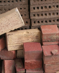 bricks: pile of loose bricks