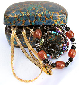treasure box: small jewellery box necklaces - costume jewellery - baubles and beads