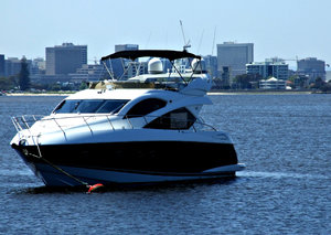 river luxury: expensive and powerful motorboats moored on the river