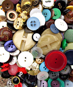 buttons - mixture 1: a variety of different sized, shaped and coloured buttons
