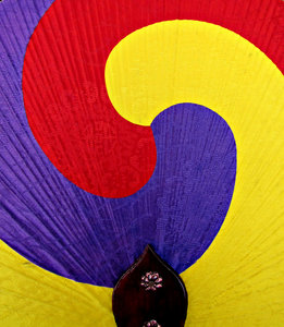 fan colours: flat colourful Korean stretched fabric fan