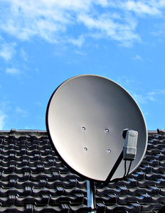 rooftop satellite dish: rooftop television satellite dish