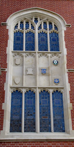 castellated-style building5: historic castellated-styled university building arched window