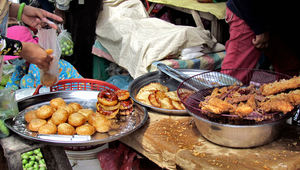 local market5: fried snacks at local Cambodian general market
