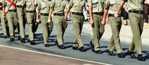 in step1: Australian soldiers on public parade