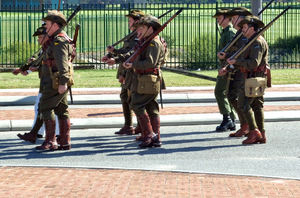 historic uniform2: Australian soldiers/former soldiers participating in military activities in First World War uniforms and equipment - Photography of Australian soldiers involved in public parades and activities is freely permitted.