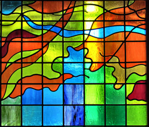 coloured light squares: stained glass window squares