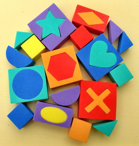 shapes and colours1: colourful children's soft foam rubber playing blocks and shapes