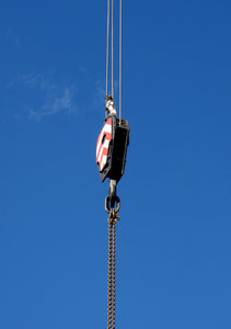 hooked: construction crane pulleys, hook and chains