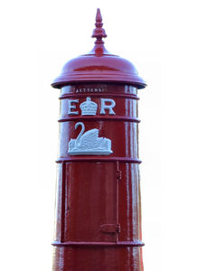 historic mailbox1: historic and traditional red postal letter collection box