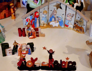 table-top nativity1: tabletop Christmas nativity scenes showing the bigger picture of Christmas