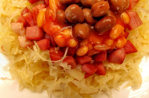 tasty tangy meal1: sauerkraut meal with beans and meat