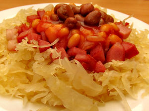 tasty tangy meal2: sauerkraut meal with beans and meat