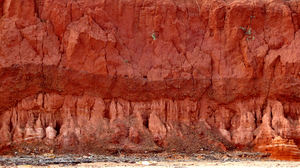 red soil seam2b: red Australian pindan soil cliff side