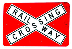 railway crossing warning: railway crossing warning road sign
