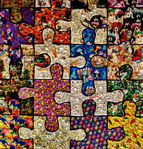 puzzling jigsaw pieces2: multicoloured puzzling abstract  jigsaw puzzle pieces