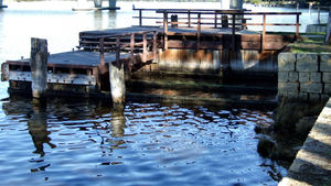 old river jetty1: old rarely used river jetty
