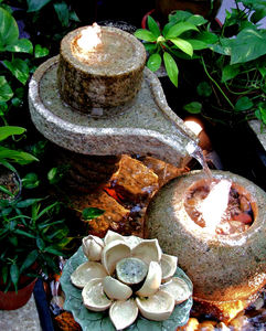 symbolic water feature: water feature displaying Hindu symbols