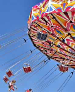 around in circles10b: colourful rotating fairground rides