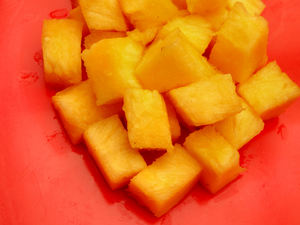diced pineapple3: diced fresh raw pineapple pieces