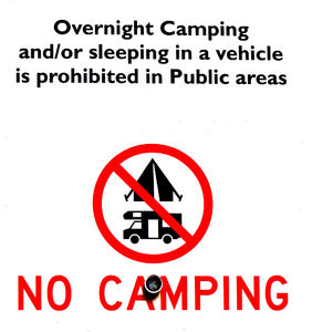 camping prohibited1: no camping in public areas