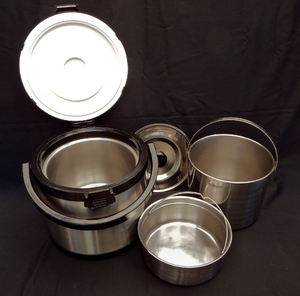 thermal cooking1: economic non-electrical portable thermal cooking - cooking two dishes at same time - empty pots & lid
