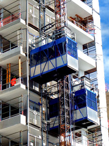 highrise construction8: Australian highrise construction building site - parallel external lifts