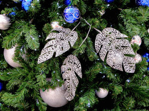 Christmas is coming10: blue and silver Christmas baubles with artificial pine