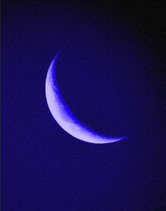 blue moon beginning3pp: abstract painting of blue crescent moon