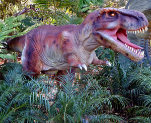 dinosaur jungle9: Public animated Zoorassic Park dinosaur display at Perth Zoo 2016.  NOT for commercial use.