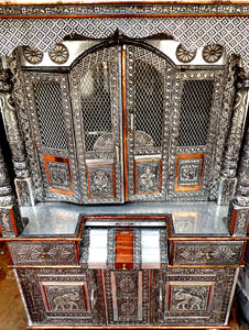 fine filigree cabinet1: fine metalwork on Indian cultural/religious home cabinet