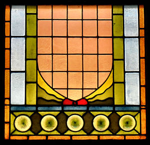 5-circles stained glass: old stained glass window panel