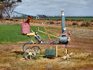 farming hardships1: Aussie farming humour in roadside paddock  (public domain - not copyright)