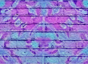 pink & blue1apt: artistic rendering, photomontage merging and filtering of several painted brick images