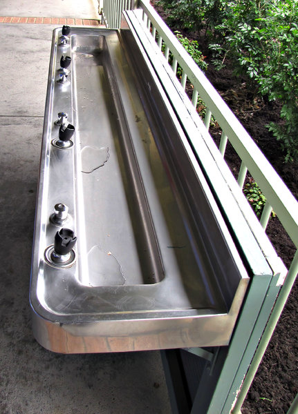 drinking trough: multiple school drinking fountain - drinking trough