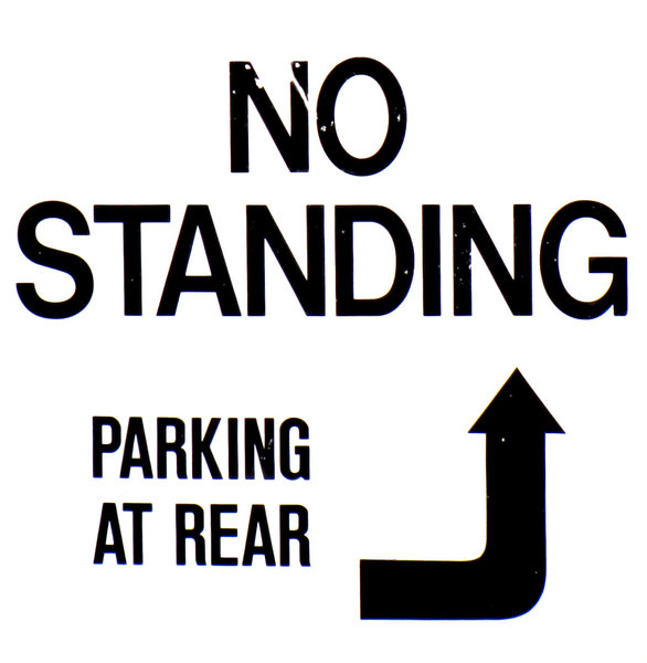 sitting only: no standing parking signs