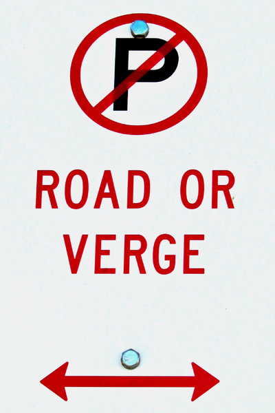 no p on the road: street sign prohibiting parking on road or verge