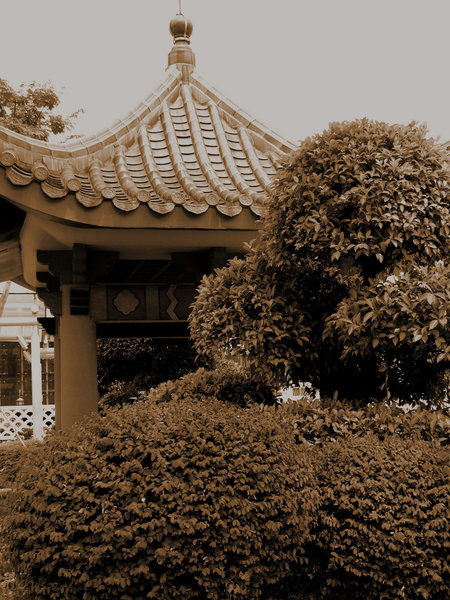 Chinese garden pavilion sepia: sepia shot of old-style Chinese small pavilion