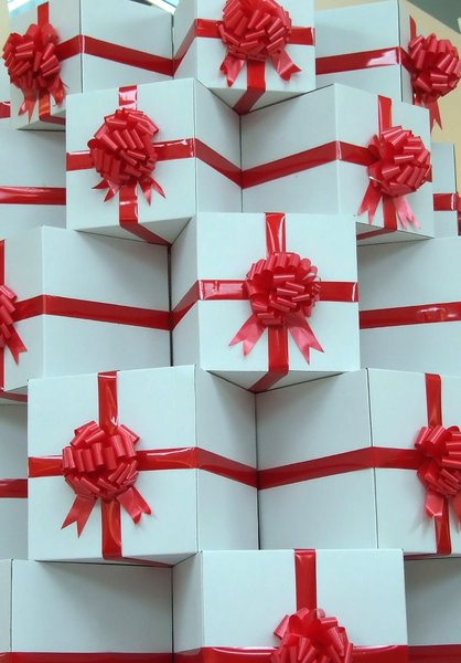gift wrapped: stack of gift wrapped boxes