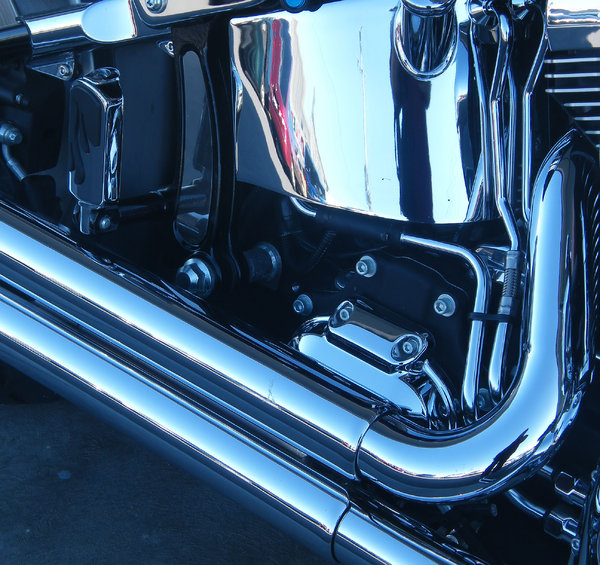 motor bike: parts and aspects of well maintained and highly polished motor bike