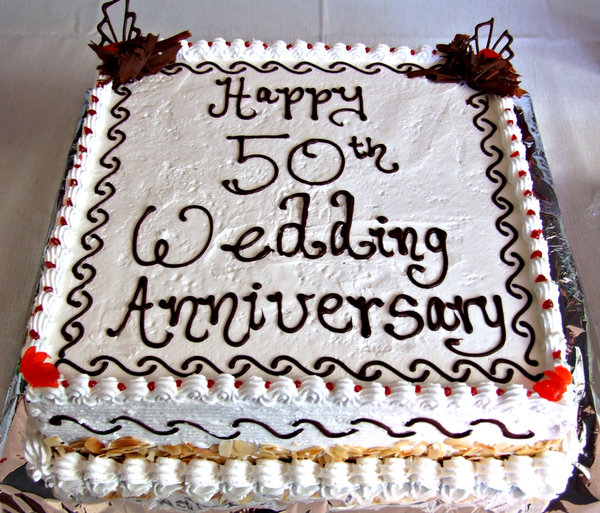 happy 50th: 50th wedding anniversary cake - best wishes