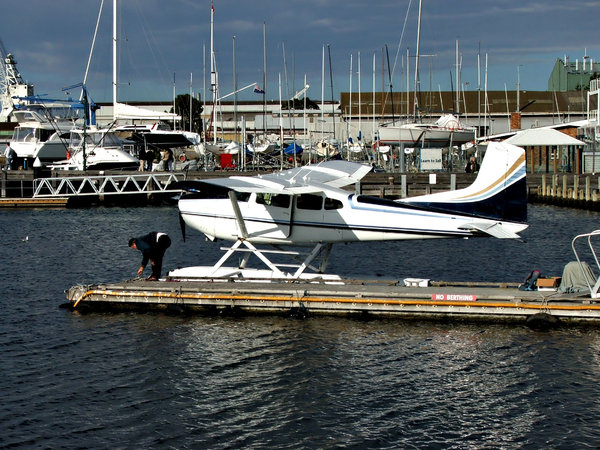 seaplane: small seaplane - floatplane - prepared for take-off
